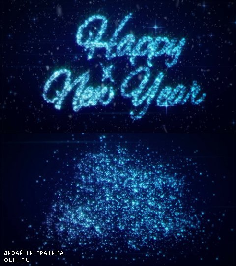 HD Footage - Happy New Year.1.New years eve intro and opener blue snow and snowflakes