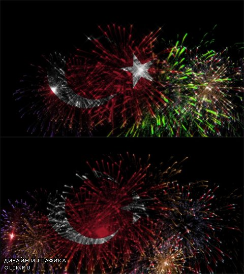 HD Footage - Turkey national day celebration with colorful fireworks