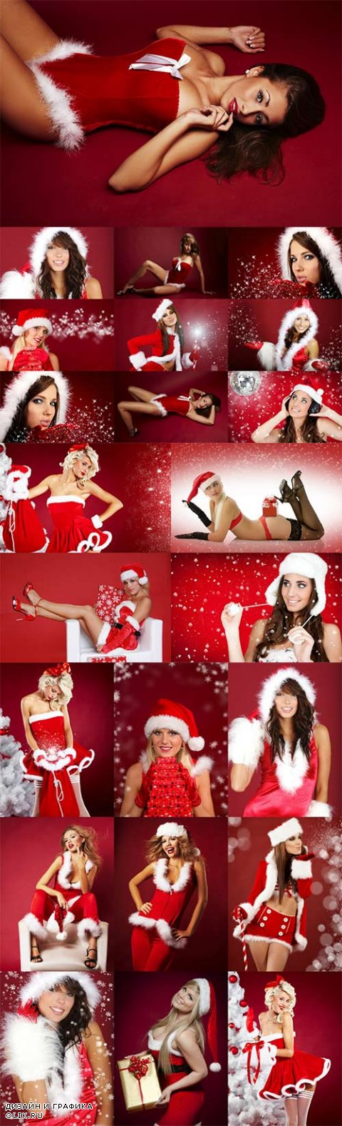 Sexy girls Santa on a red background