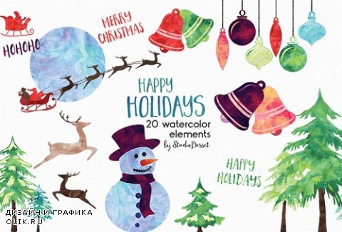 Watercolour Christmas Cliparts - 873297