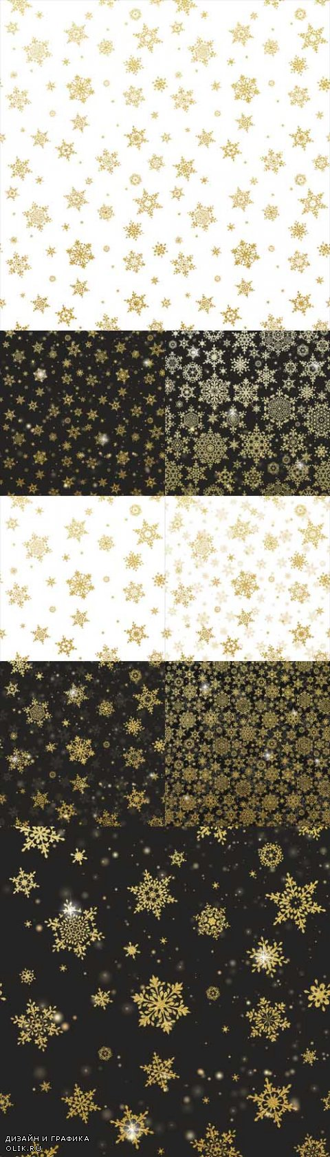 Vector Shining Gold Snowflakes Backgrounds