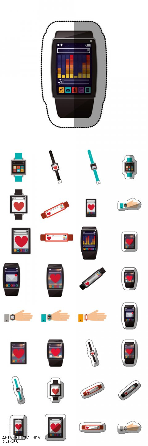 Vector Smart watch icon. App media wearable technology and gadget theme
