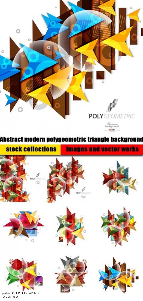 Abstract modern polygeometric triangle background