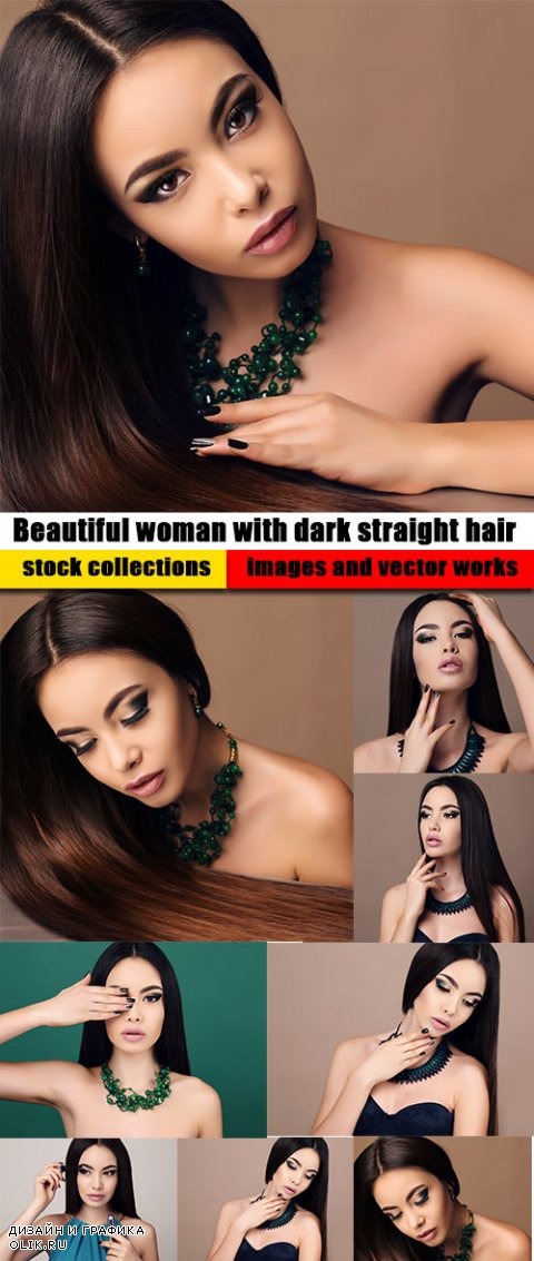 Beautiful woman with dark straight hair with bright makeup