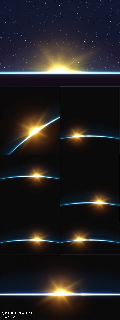 Vector Planet Earth. Sunrise Globe Horizon Atmosphere