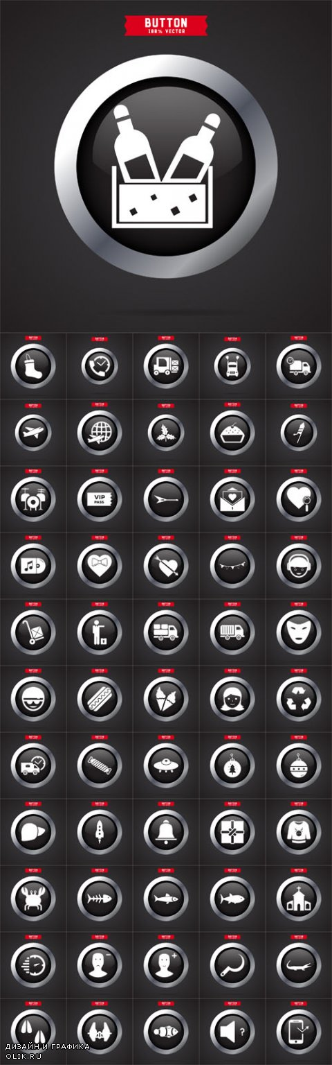 Vector Button Different Icons