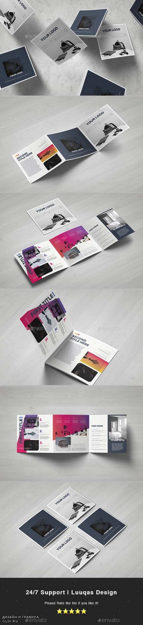 Gradient Square Trifold Template 17977672