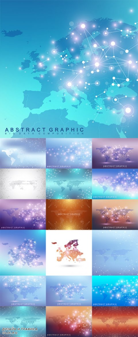 Vector Geometric Graphic Backgrounds Communication with World Map