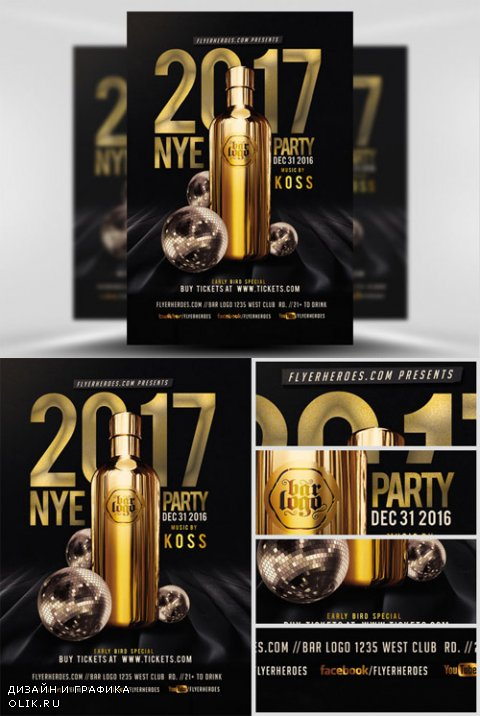 Flyer Template PSD - NYE Party 2017