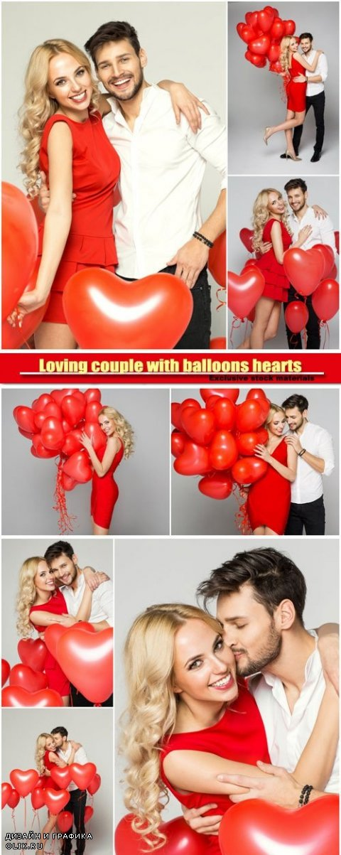 Loving couple with balloons hearts