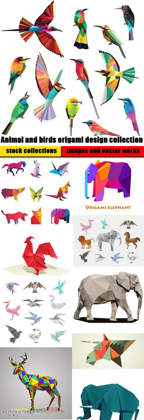 Animal and birds origami design collection