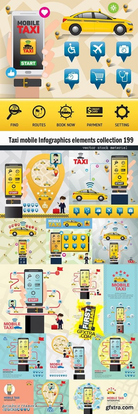 Taxi mobile Infographics elements collection 199