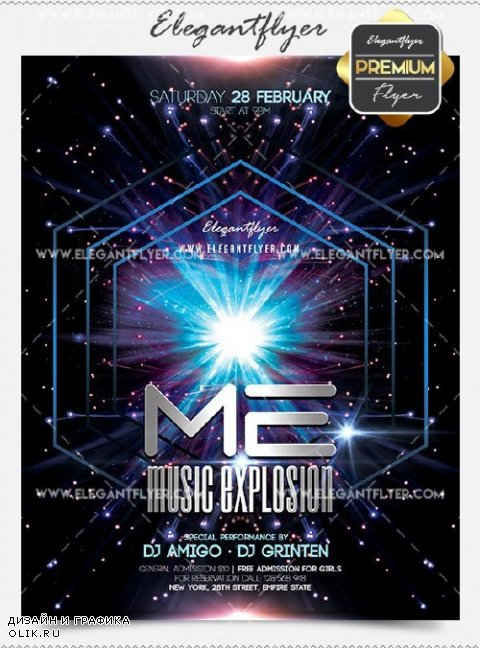 Music Explosion Flyer PSD V3 Template + Facebook Cover