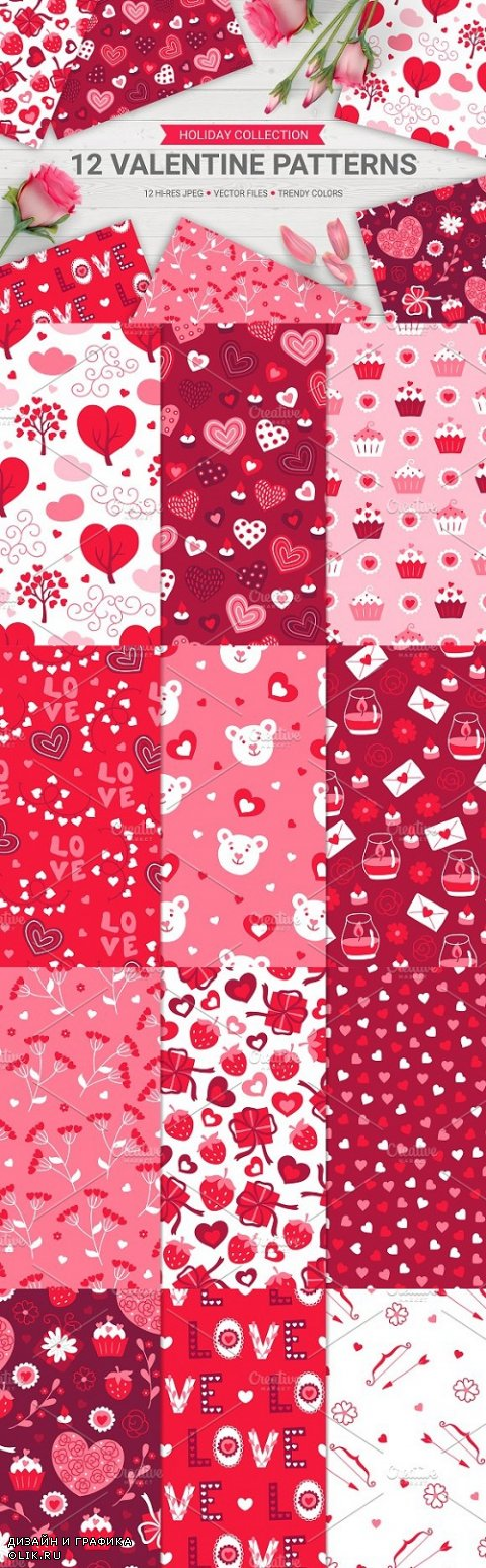 12 Valentine Seamless Patterns 1155371