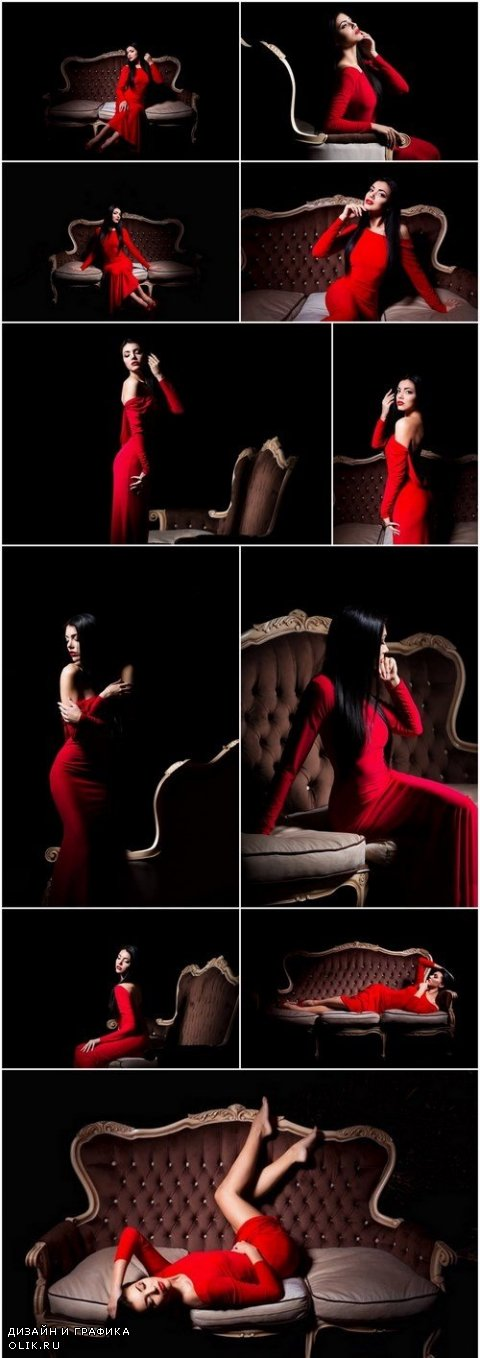 Elegant woman in red dress in darkness - Female in dramatic light, Set of 13xUHQ JPEG Professional Stock Images