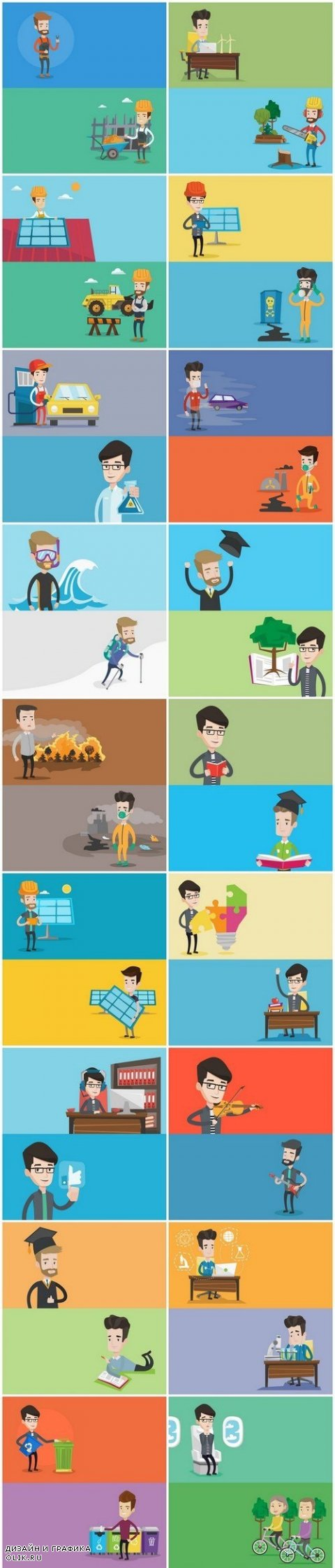 Life of people - flat design 2, Set of 20xEPS Professional Vector Stock