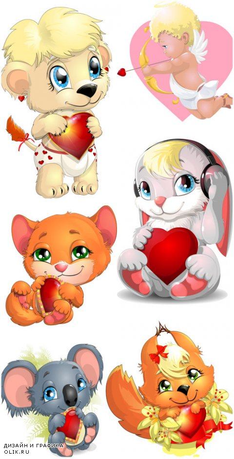 Angels, animals with hearts, Valentine's Day - vector