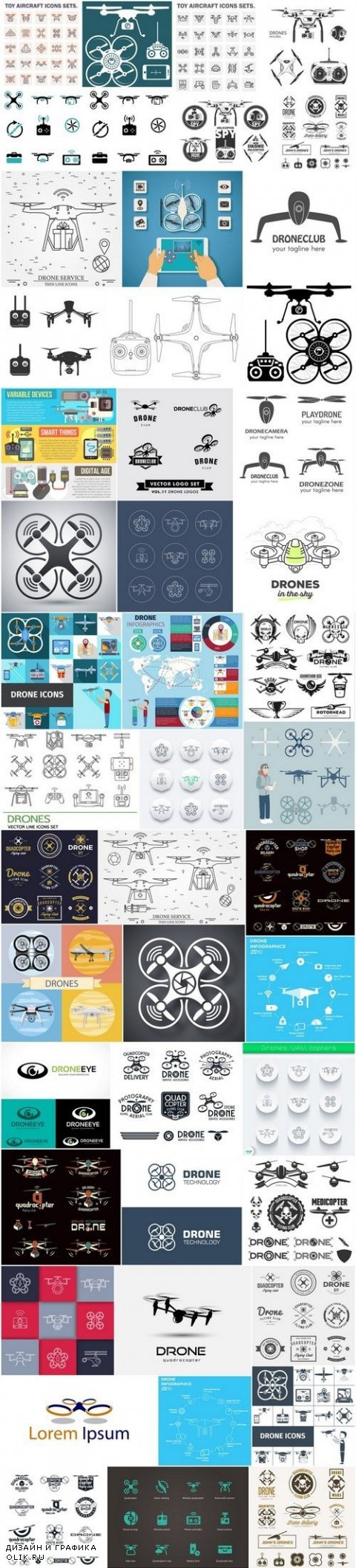 Drone and Quadcopters - Set of 50xEPS Professional Vector Stock