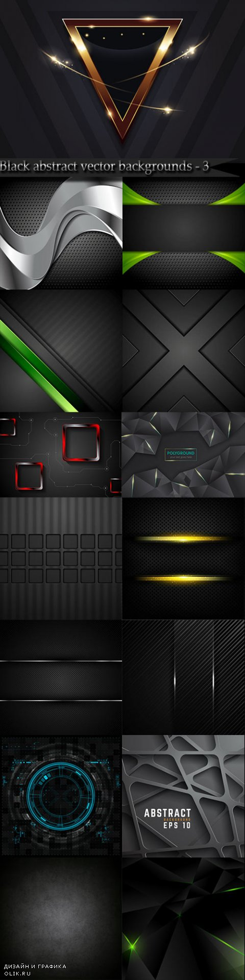 Black abstract vector backgrounds - 3
