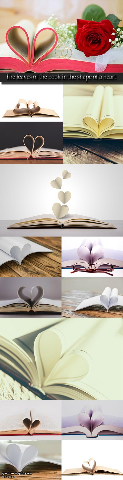 The leaves of the book in the shape of a heart