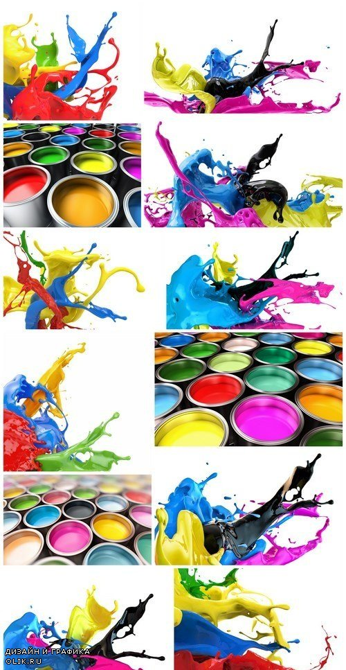 Splashing colors - Set of 12xUHQ JPEG Professional Stock Images