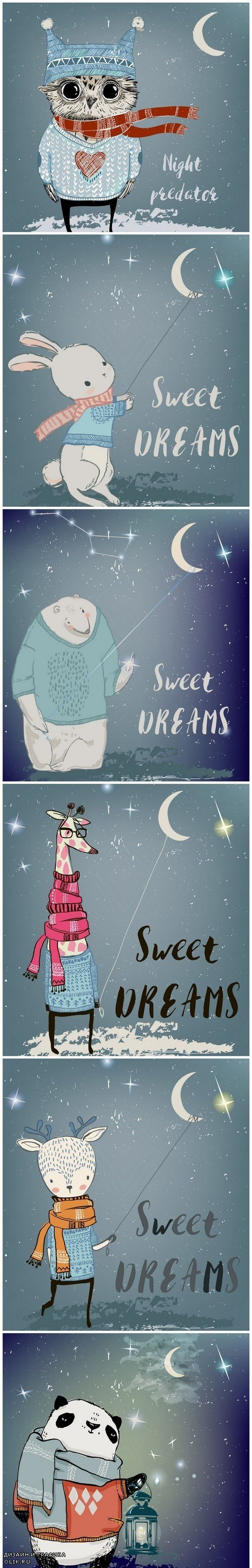 Sweet Dreams Illustrations - Set of 6xEPS Professional Vector Stock