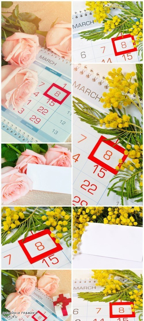 8 March card - mimosa flowers over the calendar 8X JPEG