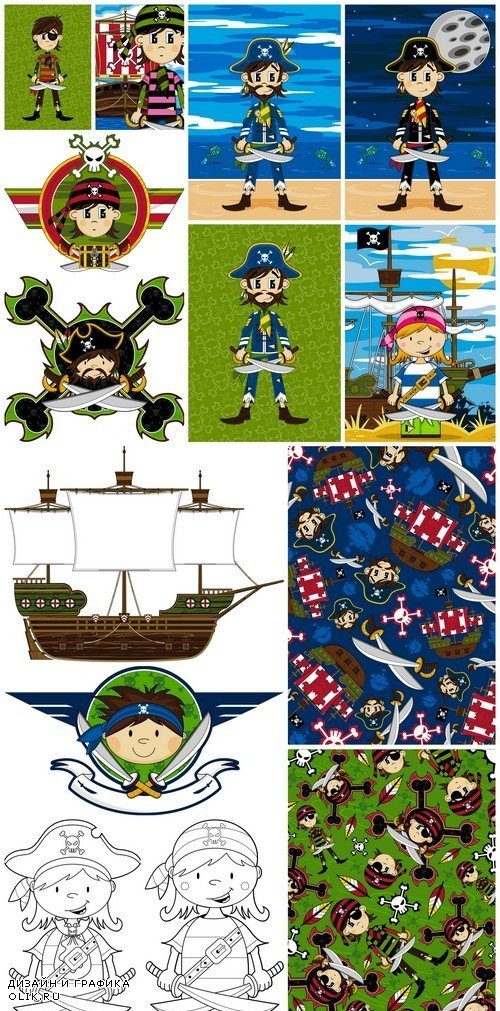 Pirate and Ship Patterns 14X EPS