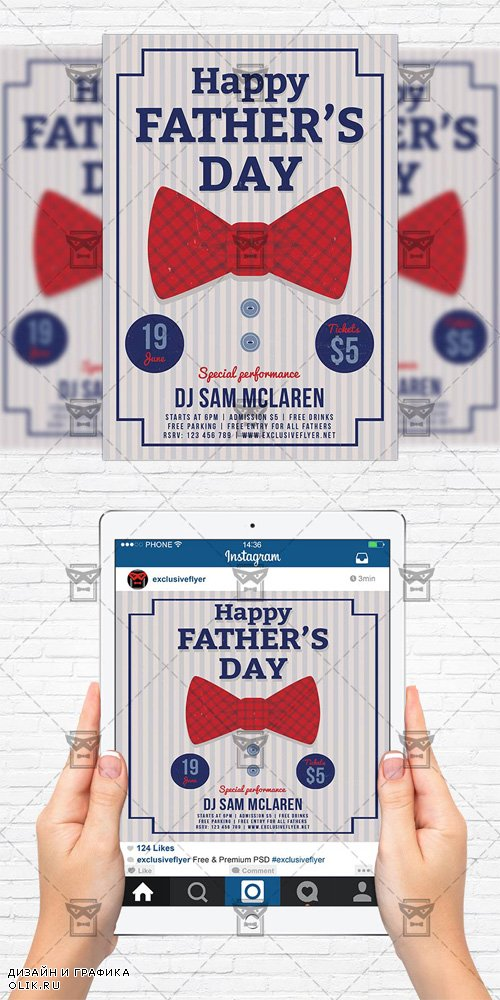 Flyer Template + Instagram Flyer - Fathers Day