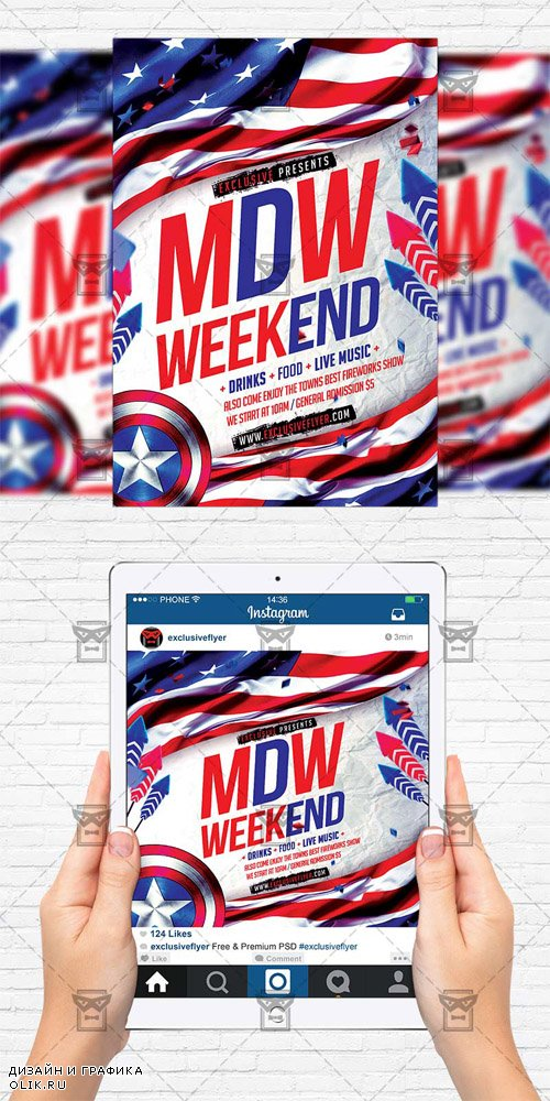 Flyer Template + Instagram Flyer - Memorial Day Weekend