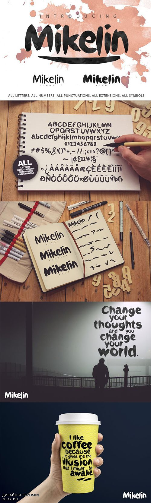 Mikelin family typeface + Extras