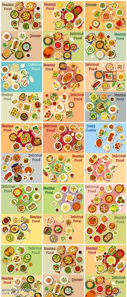 Meat dishes icon set of meat salad with vegetable 13X EPS