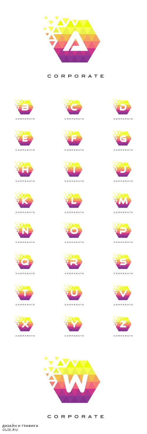 Vector Colorful Hexagonal Letter Logos Design with Rainbow Mosaic Pattern