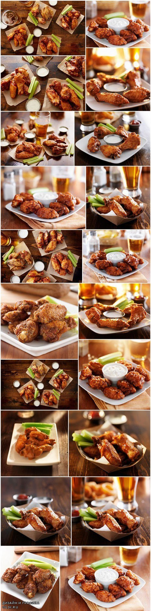 Buffalo barbecue hot chicken wings around ranch sauce - 21xUHQ JPEG