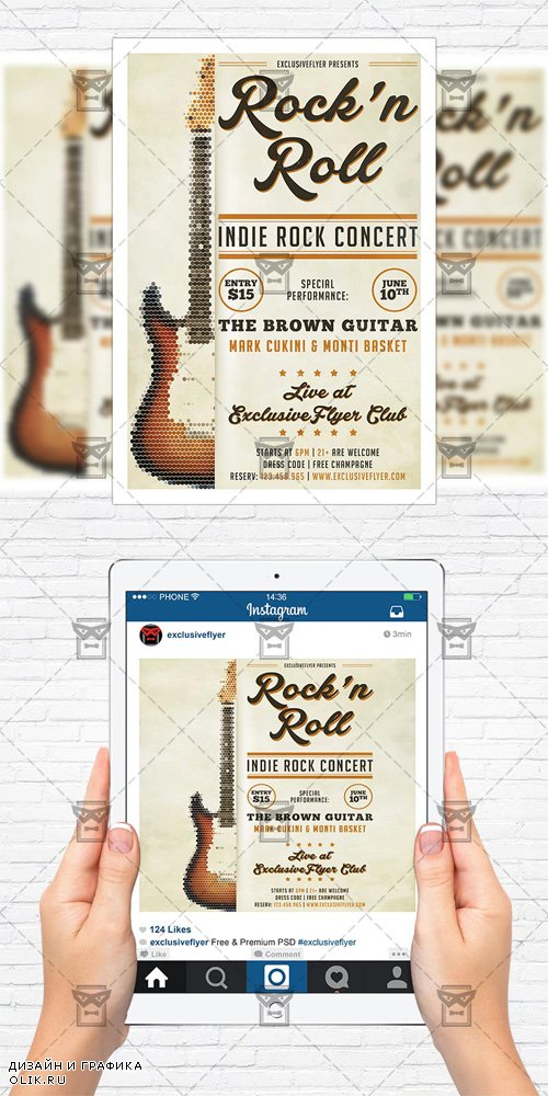 Flyer Template + Instagram Size Flyer - Indie Rock Guitar