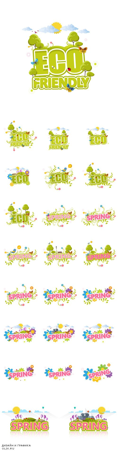 Vector Creative Eco and Spring Labels with Flowers and Green Bush