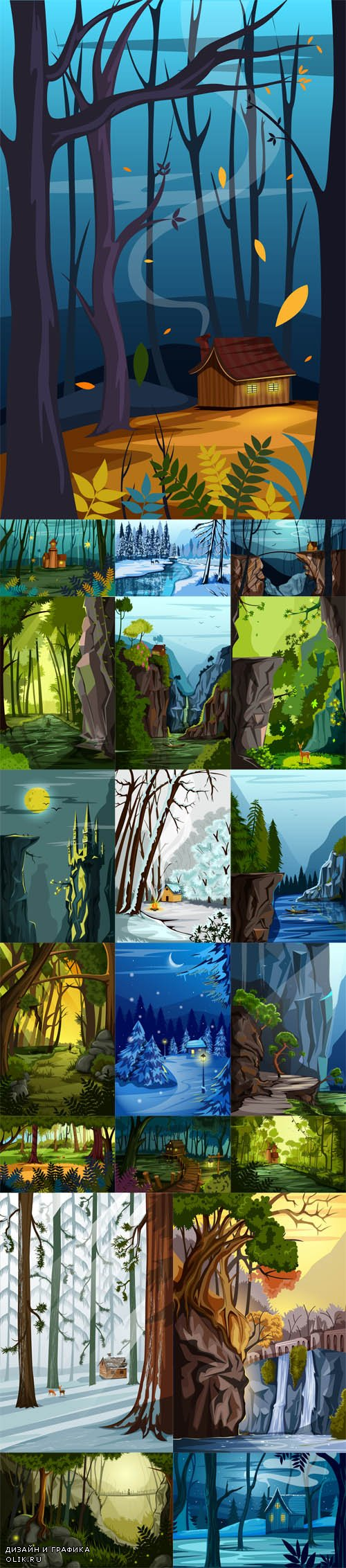 Vector Nature Landscape Scenery Backgrounds