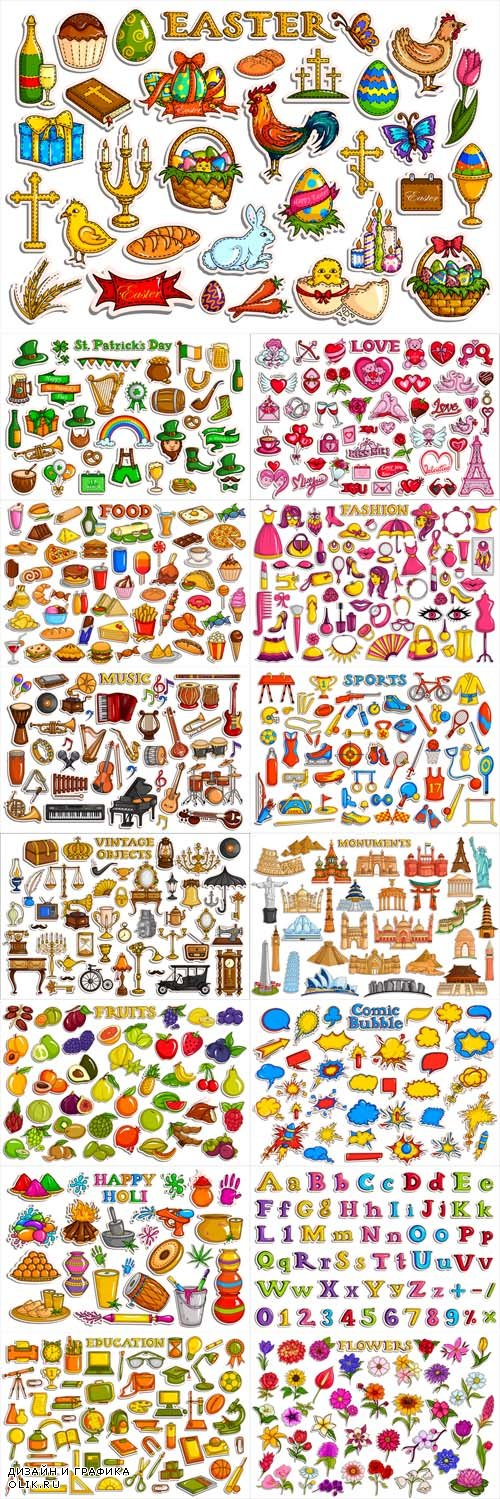 Vector Different Stickers Collection