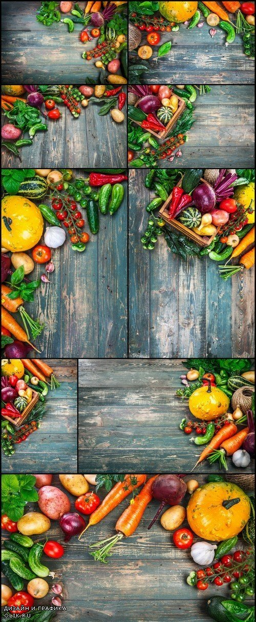 Fresh vegetables on a wooden background 9X JPEG
