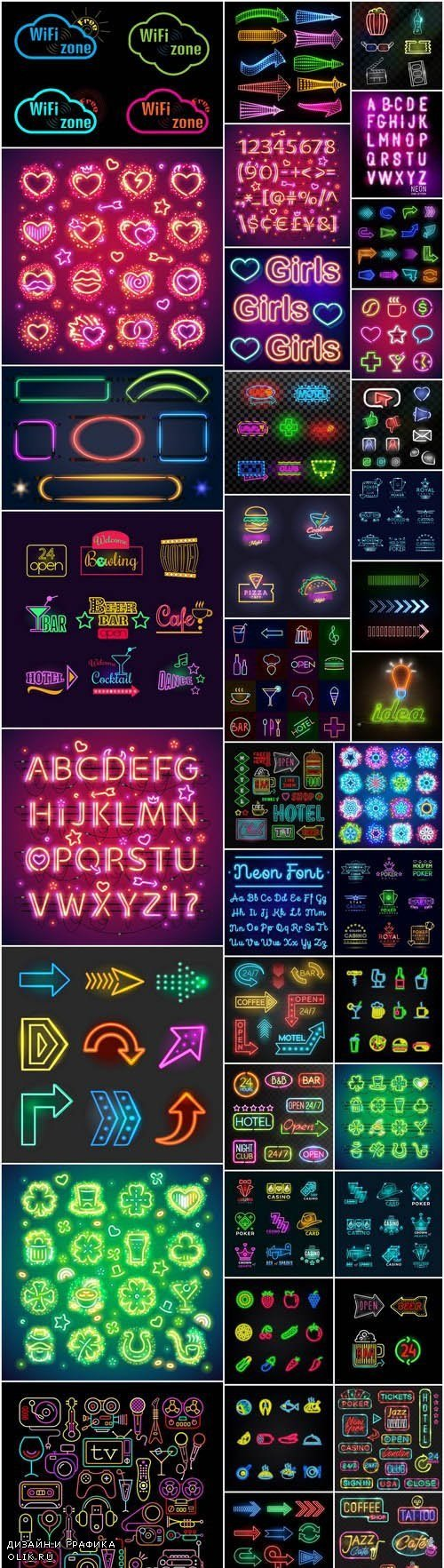 Neon Icons Collection - 38 Vector