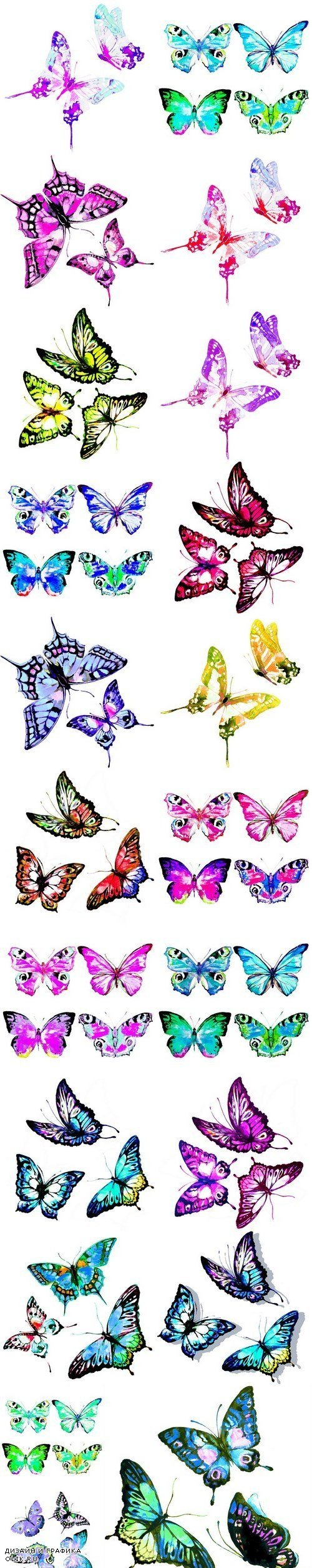 Beautiful watercolor butterflies - 21xUHQ JPEG