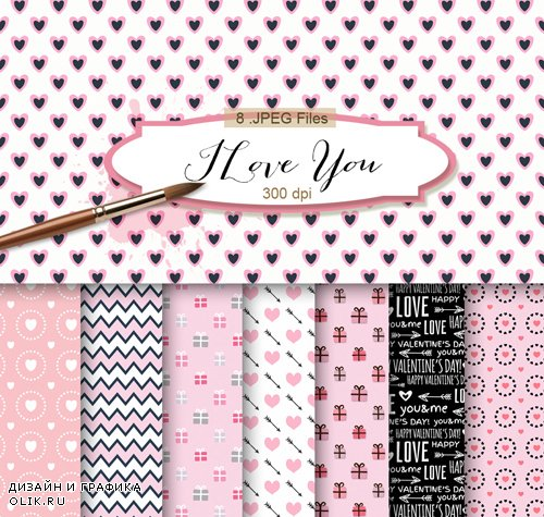 Romantic Background Textures - I Love You