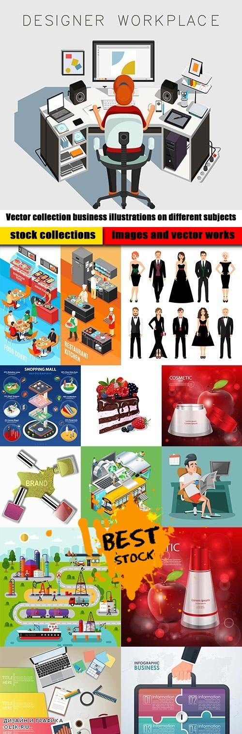 Vector collection business illustrations on different subjects
