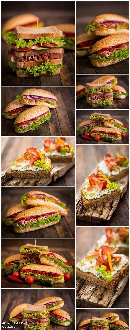 Tasty sandwiches on a wooden table - 20xUHQ JPEG