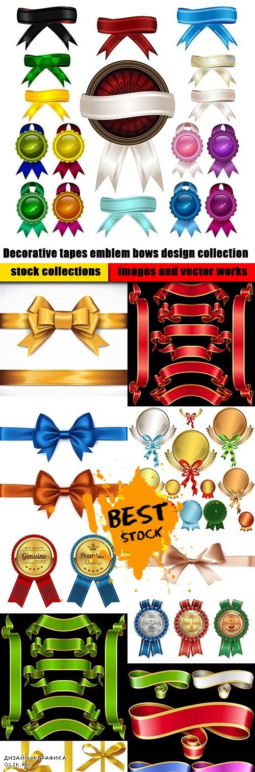 Decorative tapes emblem bows design collection