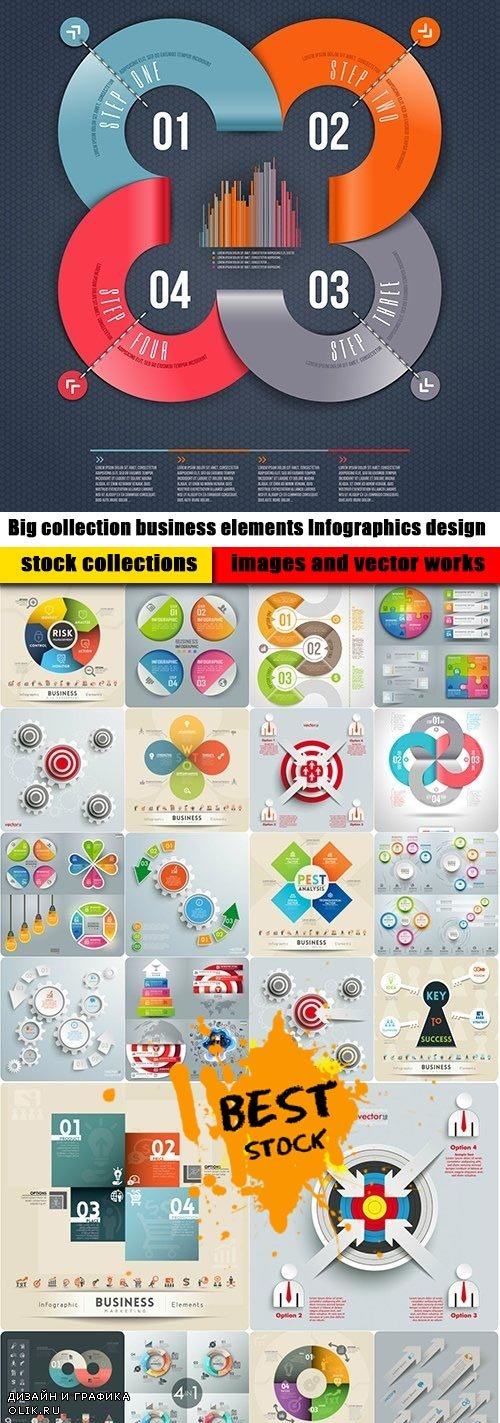 Big collection business elements Infographics design