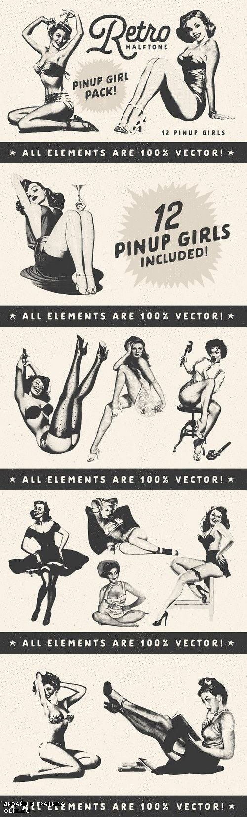 Retro Halftone Pinup Girl Pack 1209192