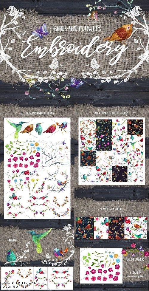 Embroidery: flowers and birds 1397147