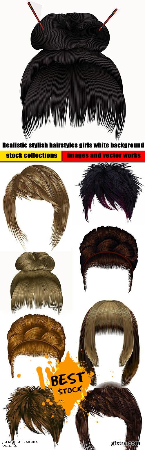 Realistic stylish hairstyles girls white background