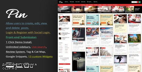 t - Pin v3.3 - Pinterest Style / Personal Masonry Blog / Front-end Submission - 10272975